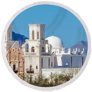 San Xavier Del Bac Mission Round Beach Towel