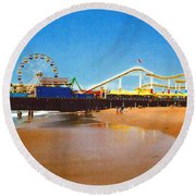 Round Beach Towel featuring the photograph Sana Monica Pier by Daniel Thompson