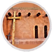 Round Beach Towel featuring the photograph Santuario Four Crosses by Lanita Williams