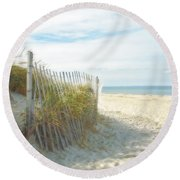 Sand Beach Ocean And Dunes Round Beach Towel