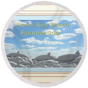 Sand Dolphins - Digitally Framed Round Beach Towel by Susan Molnar