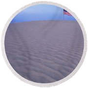 Sand Dunes American Flag Christmas Round Beach Towel