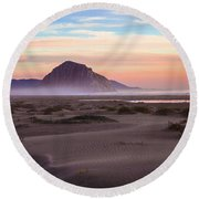 Sand Dunes At Sunset At Morro Bay Beach Shoreline  Round Beach Towel by Jerry Cowart