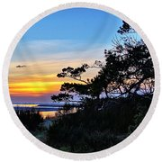 Sand Lake Sunset Round Beach Towel