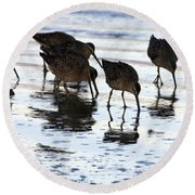 Sand Pipers Reflected Round Beach Towel