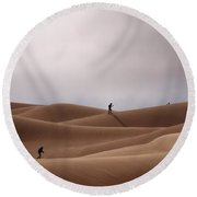 Sand Skiing Round Beach Towel