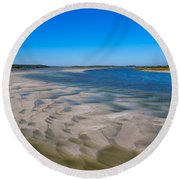 Sandbars On The Fort George River Round Beach Towel