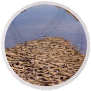 Round Beach Towel featuring the photograph Sandform At Sand Hook by Gary Slawsky