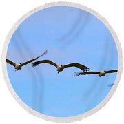Sandhill Crane Flight Pattern Round Beach Towel by Mike Dawson