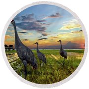 Sandhill Sunset Round Beach Towel