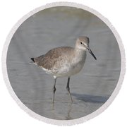 Round Beach Towel featuring the photograph Sandpiper by Christiane Schulze Art And Photography