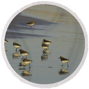 Sandpiper Sunset Reflection Round Beach Towel by Susan Molnar