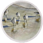 Sandpipers 2 Watercolor 5-13-12 Julianne Felton Round Beach Towel