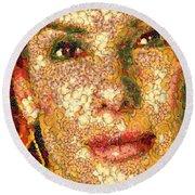 Round Beach Towel featuring the digital art Sandra Bullock In The Way Of Arcimboldo by Dragica  Micki Fortuna