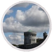 Sands Point Castle Round Beach Towel by John Telfer