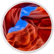 Sandstone Curves In Antelope Canyon Round Beach Towel by Greg Norrell