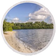 Round Beach Towel featuring the photograph Sandy Beach by Jane Luxton