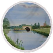 Round Beach Towel featuring the painting Sandy Bridge by Martin Howard