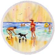 Sandy Dog At The Beach Round Beach Towel by Carlin Blahnik