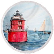 Sandy Point Lighthouse 2 Round Beach Towel