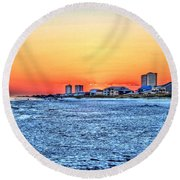 Sandy Sunset Round Beach Towel