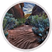 Sandy Trail Arches National Park Round Beach Towel