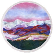 Round Beach Towel featuring the painting Sangre De Cristo Mountains by Stephen Anderson