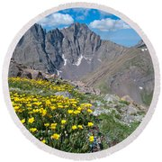Sangre De Cristos Crestone Peak And Wildflowers Round Beach Towel