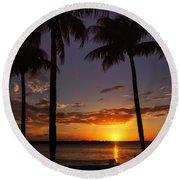 Round Beach Towel featuring the photograph Sanibel Island Sunset by Kim Hojnacki