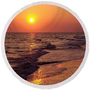 Round Beach Towel featuring the photograph Sanibel Sunset by D Hackett