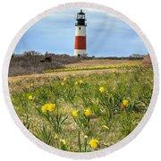 Sankaty Lighthouse Nantucket Round Beach Towel