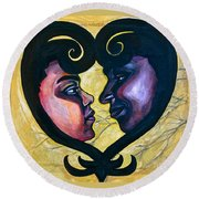 Round Beach Towel featuring the painting Sankofa Love by Gabrielle Wilson-Sealy