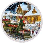 Santa Arrives In Rudolph Train Round Beach Towel