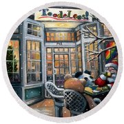 Santa At Toodeloos Toy Store Round Beach Towel by Eileen Patten Oliver