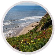 Santa Barbara Beach Beauty Round Beach Towel