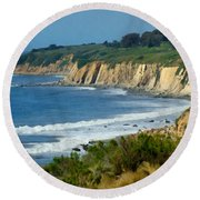Santa Barbara Coast Round Beach Towel