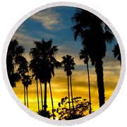 Santa Barbara Sunset Round Beach Towel
