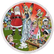 Santa Claus Toy Factory Round Beach Towel by Jesus Blasco
