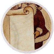 Round Beach Towel featuring the painting Santa Claus Wishlist Original Coffee Painting by Georgeta  Blanaru