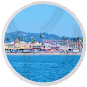 Santa Cruz Boardwalk  Round Beach Towel