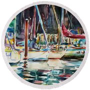 Round Beach Towel featuring the painting Santa Cruz Dock by Xueling Zou