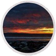 Round Beach Towel featuring the photograph Santa Cruz Rocks by Michael Gordon