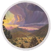 Santa Fe Baldy Round Beach Towel by Art James West