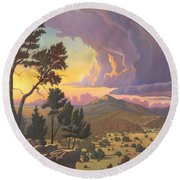 Santa Fe Baldy - Detail Round Beach Towel by Art James West