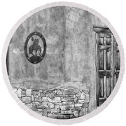 Round Beach Towel featuring the photograph Santa Fe New Mexico Street Corner by Ron White