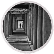 Round Beach Towel featuring the photograph Santa Fe New Mexico Walkway by Ron White