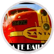 Santa Fe Railroad Color Poster Round Beach Towel by Art America Gallery Peter Potter