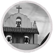 Santa Ines Mission Bell Tower Round Beach Towel