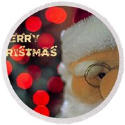 Santa  Round Beach Towel by Spikey Mouse Photography