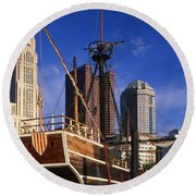 Santa Maria Replica Photo Round Beach Towel
